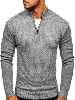 Šedý pánsky sveter so zapínaním Bolf 8255