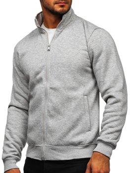 Sivá pánska mikina na zips bez kapucne Bolf B002