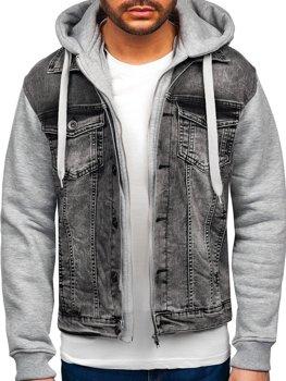Sivá pánska rifľová bunda s kapucňou Bolf 10350