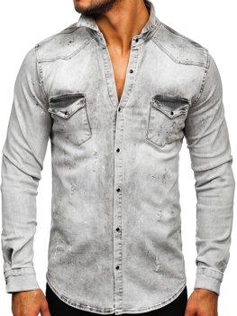 Sivá pánska riflová košeľa s dlhými rukávmi Bolf R805