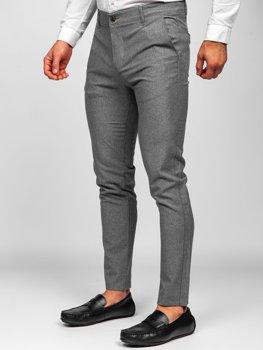 Sivé pánske látkové chinos nohavice Bolf 0016