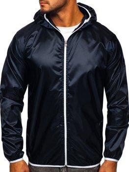 Tmavomoddrá pánska prechodná bunda s kapucňou BOLF 5060