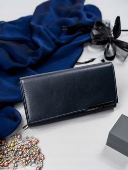 Tmavomodrá dámska kožená peňaženka 2686