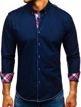 Tmavomodrá pánska elegantá košeľa s dlhými rukávmi BOLF 1758