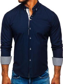 Tmavomodrá pánska elegantá košeľa s dlhými rukávmi BOLF 5796-1