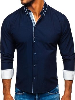 Tmavomodrá pánska elegantá košeľa s dlhými rukávmi BOLF 6929-A
