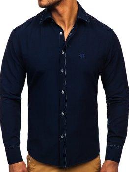 Tmavomodrá pánska elegantná košeľa s dlhými rukávmi BOLF 4719
