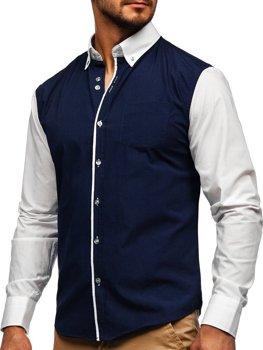 Tmavomodrá pánska elegantná košeľa s dlhými rukávmi BOLF 6919