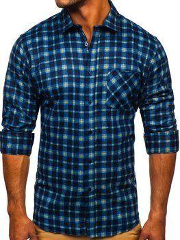 Tmavomodrá pánska flanelová košeľa s dlhými rukávmi Bolf F9
