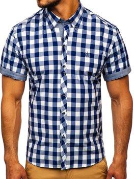 Tmavomodrá pánska károvaná košeľa s krátkymi rukávmi BOLF 6522