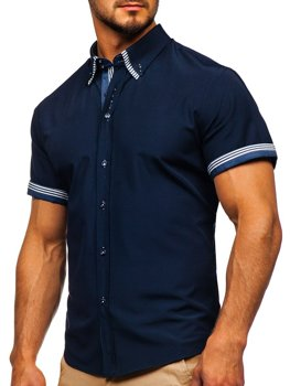 0e61d25a8739 Tmavomodrá pánska košeľa s krátkymi rukávmi BOLF 2911