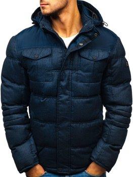 Tmavomodrá pánska prešívaná športová zimná bunda Bolf AB104