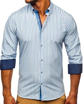 Tmavomodrá pánska prúžkovaná košeľa s dlhými rukávmi Bolf 20704