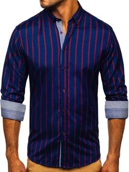 Tmavomodrá pánska prúžkovaná košeľa s dlhými rukávmi Bolf 20705