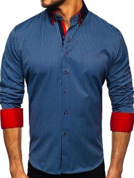 Tmavomodrá pánska prúžkovaná košeľa s dlhými rukávmi Bolf Bolf 2751