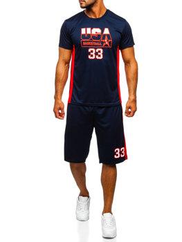 Tmavomodrá pánska súprava tričko + šortky Bolf C10163