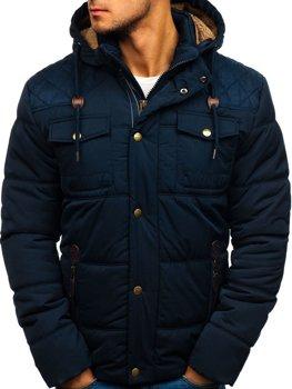 28cc31305f Tmavomodrá pánska zimná bunda BOLF 1665