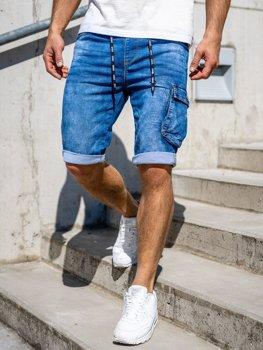 Tmavomodré pánske riflové kapsáčové šortky Bolf KR1206