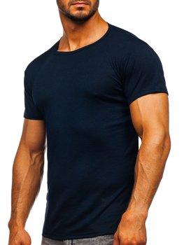 Tmavomodré pánske tričko bez potlače Bolf NB003