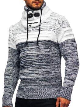 Tmavomodrý hrubý pánsky sveter so stojačikovým golierom Bolf 2058