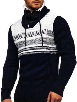 Tmavomodrý hrubý pánsky sveter zo stojačikom Bolf 2020