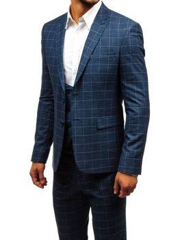 Tmavomodrý pánsky károvaný oblek s vestou BOLF 18200