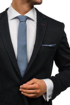 Tmavošedá pánska sada: kravata, manžety, kapesník BOLF KSP01