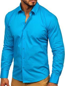 Tyrkysová pánska elegantná košeľa s dlhými rukávmi Bolf TS50