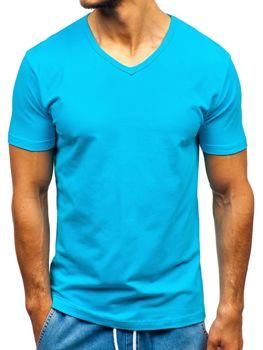 Tyrkysové pánske tričko bez potlače BOLF T1043