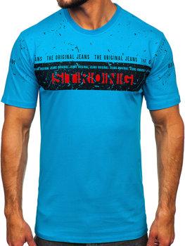 Tyrkysové pánske tričko s potlačou BOLF 14204
