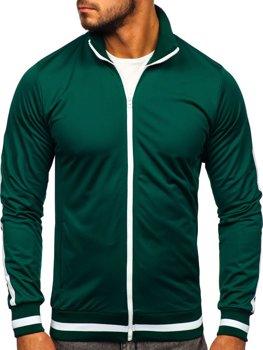 Zelená pánska mikina na zips bez kapucne retro style Bolf 2126