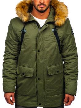 Zelená pánska zimná bunda parka BOLF 1791 b258018eaa2