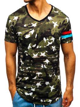 Zelené maskáčové pánske tričko s potlačou BOLF 309