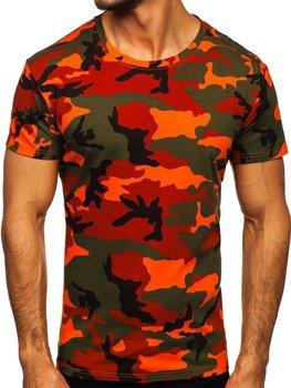 Zeleno-oranžové pánske tričko s maskačovým vzorom Bolf S807