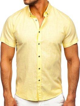 Žltá pánska bavlnená košeľa s krátkymi rukávmi Bolf 20501