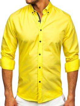 Žltá pánska košeľa s dlhými rukávmi Bolf 20716