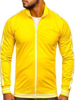 Žltá pánska mikina na zips bez kapucne retro style Bolf 11113