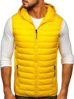 Žltá pánska prešívaná vesta s kapucňou Bolf HDL88002