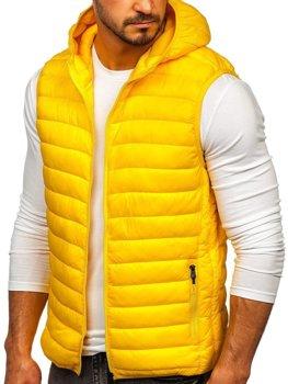 Žltá pánska prešívaná vesta s kapucňou Bolf LY36