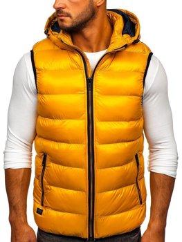 Žltá pánska prešívaná vesta s kapucňou Bolf6506