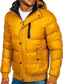 Žltá pánska prešívaná zimná bunda Bolf 5839