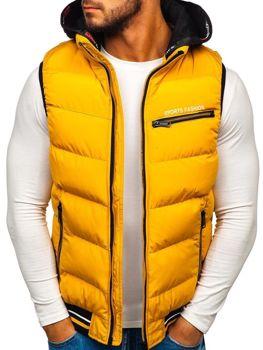 Žltá pánska vesta s kapucňou BOLF 5805
