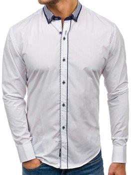 Biela pánska elegantná košeľa s dlhými rukávmi BOLF 6941