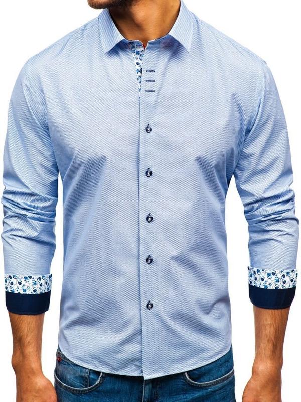 Bielo-tmavomodrá pánska vzorovaná košeľa s dlhými rukávmi Bolf 9704