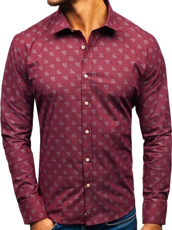 Bordová pánska vzorovaná košeľa s dlhými rukávmi BOLF 300G43