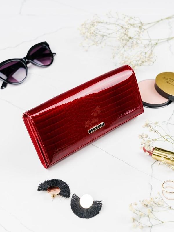 Červená dámska kožená peňaženka 2097