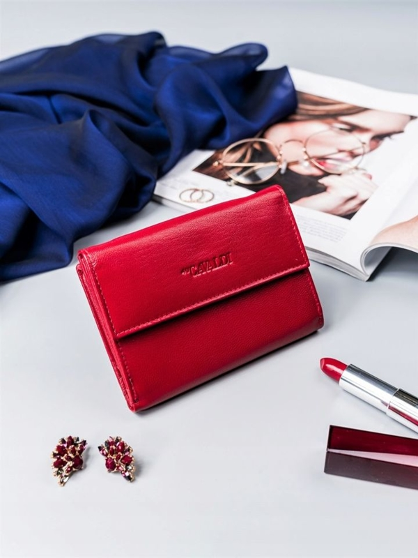Červená dámska kožená peňaženka 2411