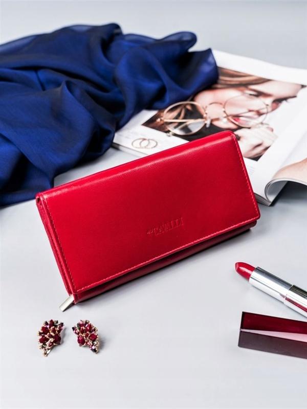Červená dámska kožená peňaženka 2418