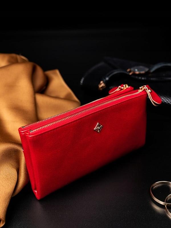 Červená dámska koženková peňaženka 1826