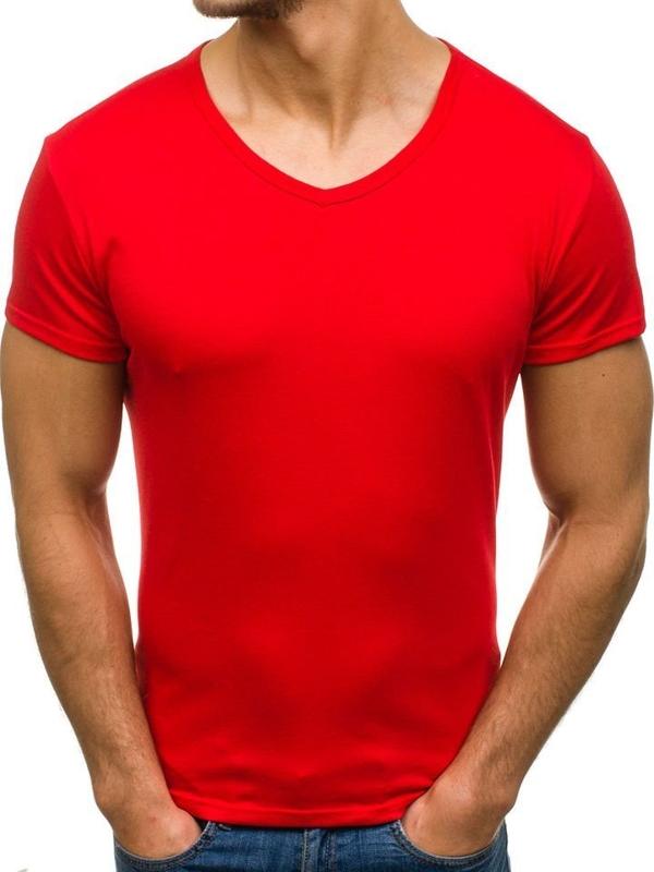 Červené pánske tričko bez potlače s výstrihom do V BOLF 2007